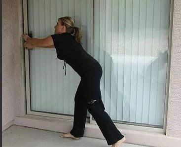 woman sliding door